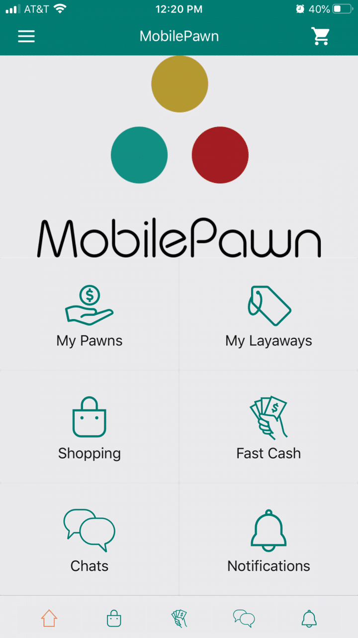 Mobile Pawn App Home